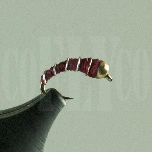 Zebra Midge Beadhead Red